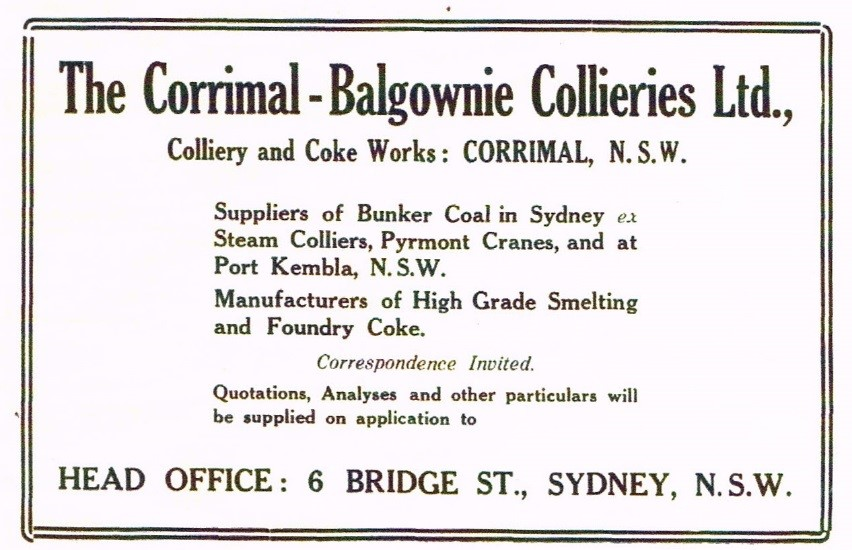 Corrimal Advert from Australian Coal Shipping Steel The Harbour 01 01 1921